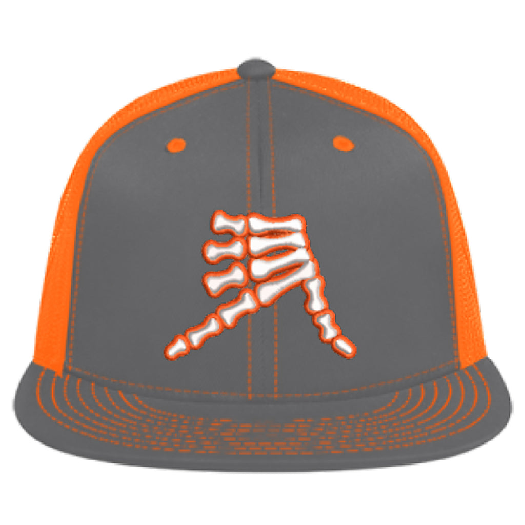 AkS Bones Flatbill Trucker Hat in Graphite & Neon Orange