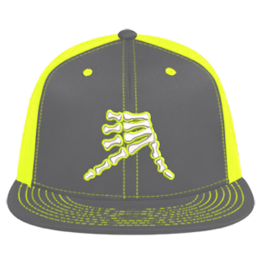 AkS Bones Flatbill Trucker Hat in Graphite & Neon Yellow