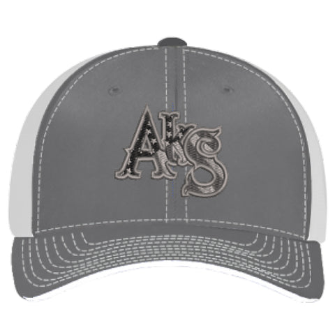 Stars & Stripes Trucker Hat in Graphite and White with Smoke