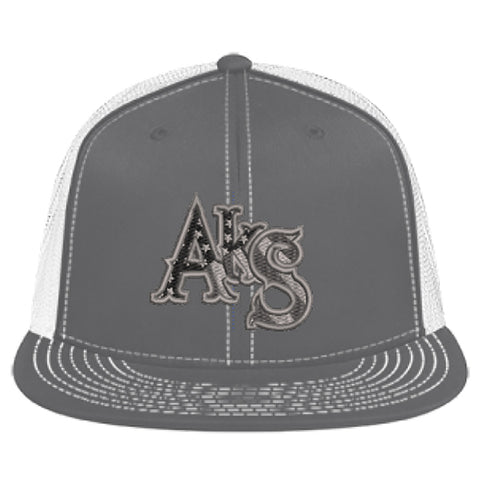 Stars & Stripes Flatbill Trucker Hat in Graphite and White with Smoke