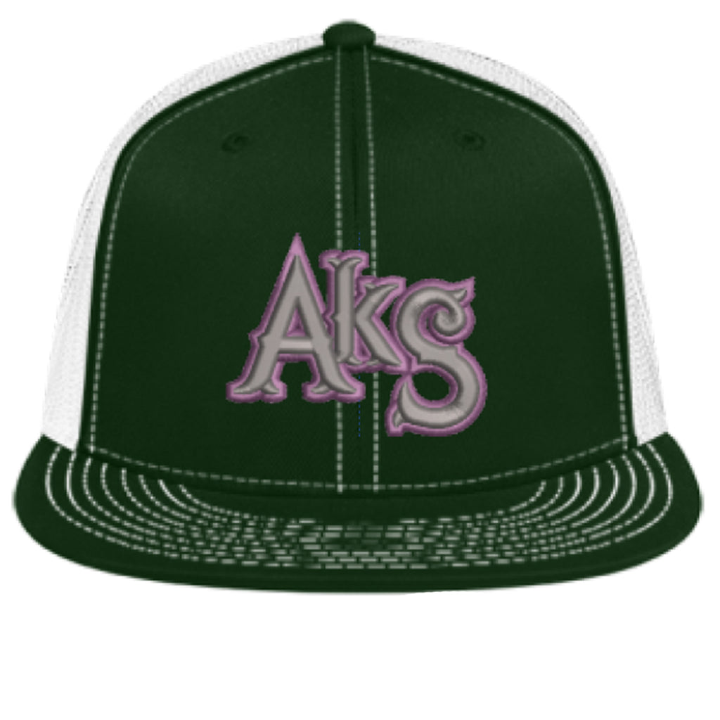 AkS Original Flatbill Trucker Hat in Dark Green & White with Purple