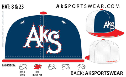 AkS Original Flatbill Trucker Hat in Navy & Red & White