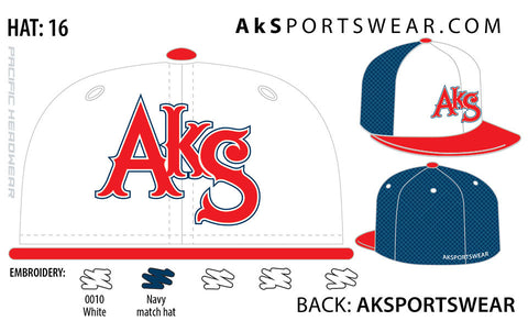 AkS Original Trucker Hat in White & Red & Navy