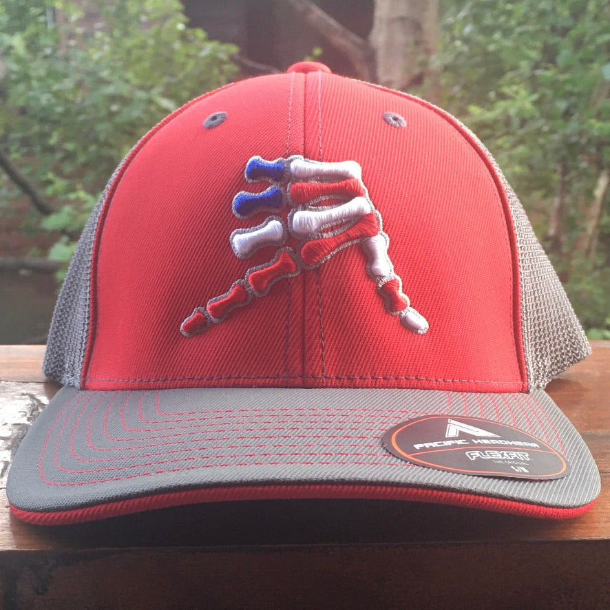 AkS Bones Stripes Trucker hat in Red and Graphite