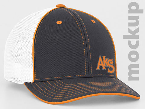 SK8R Flatbill Trucker Hat in Graphite & Neon Orange & White