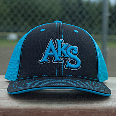 AkS Original Trucker Hat in Black & Neon Blue