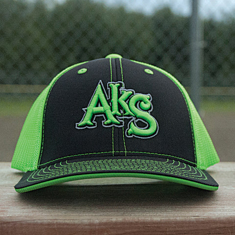 AkS Original hat in Black & Neon Green