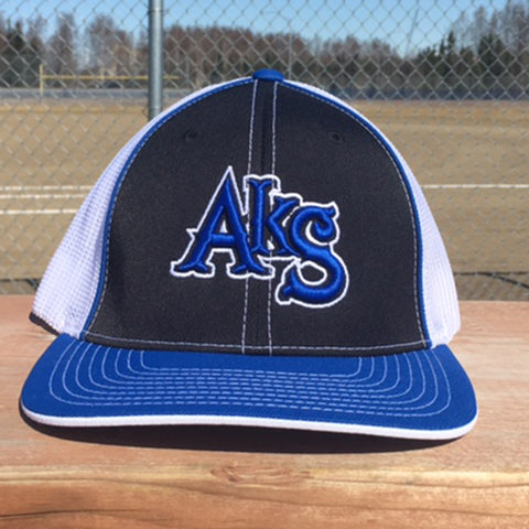 AkS Original Trucker Hat in Black & Royal & White
