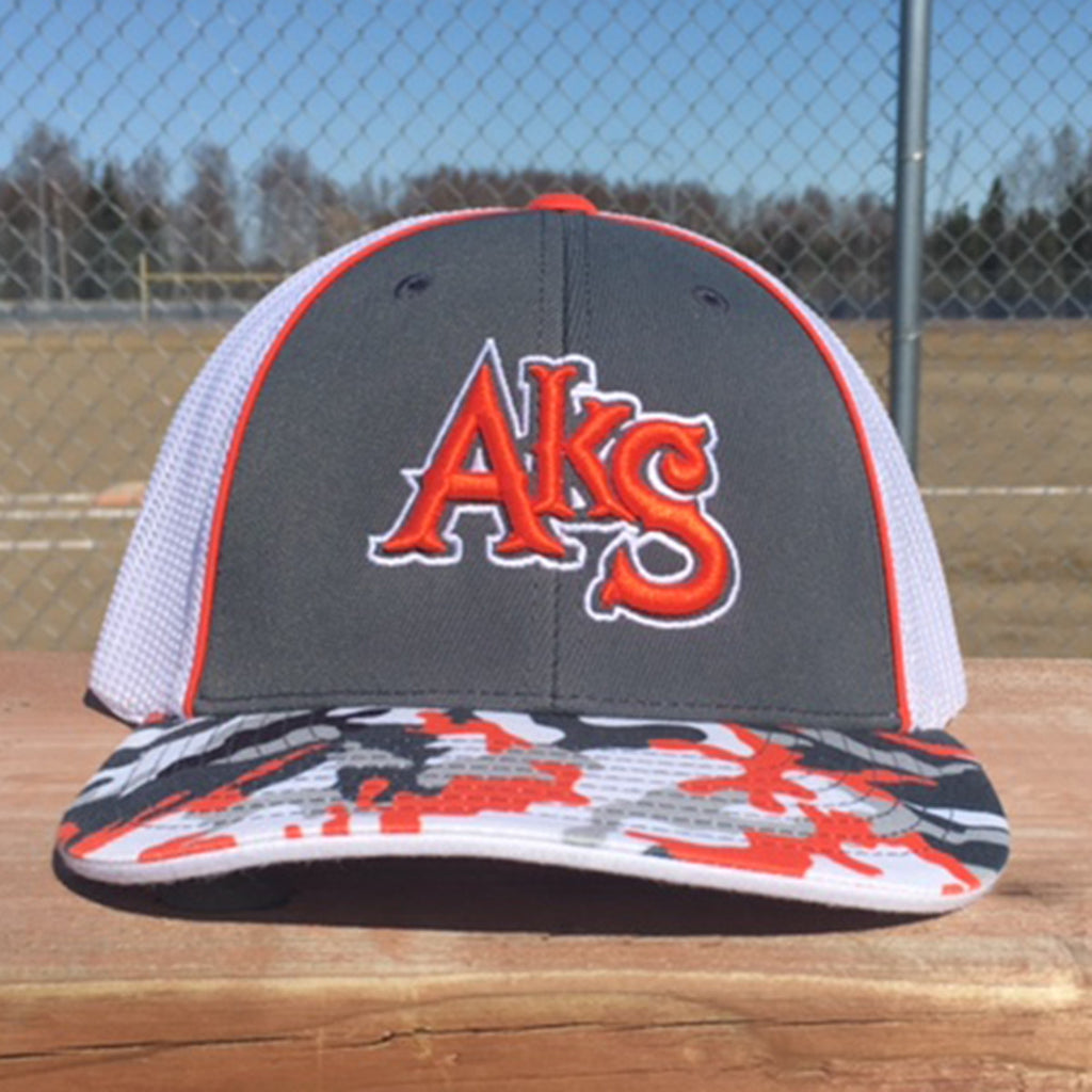 AkS Original Trucker Hat in Graphite & Orange Glamo & White