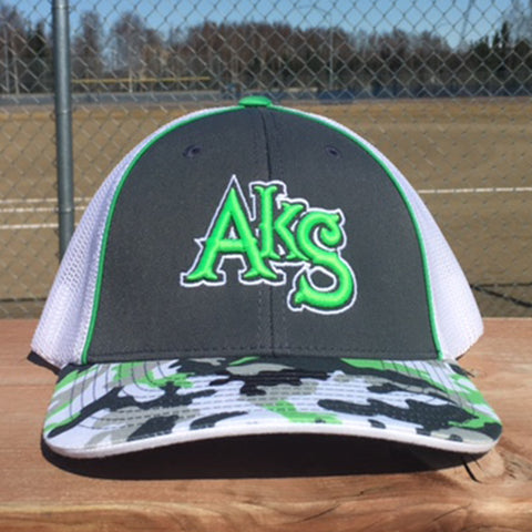 AkS Original hat in Graphite & Neon Green Glamo