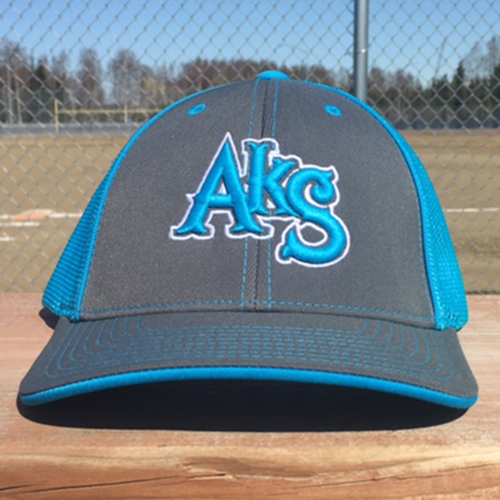 AkS Original Snap-Back Trucker Hat in Graphite & Neon Blue