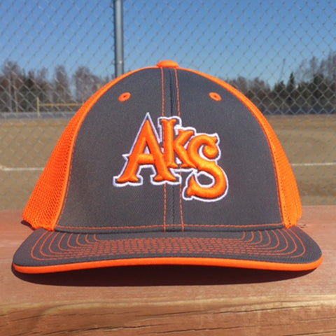 AkS Original Trucker Hat in Graphite & Neon Orange