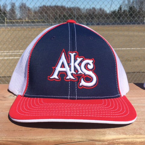 AkS Original Trucker Hat in Navy & Red & White