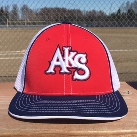 AkS Original Trucker Hat in Red & Navy