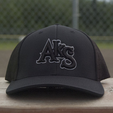 AkS Original Trucker Hat in Black with Charcoal