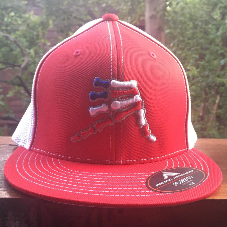 AkS Bones Stripes Flatbill Trucker hat in Red