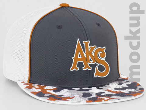 AkS Original Flatbill Trucker Hat in Graphite & Orange Glamo & White