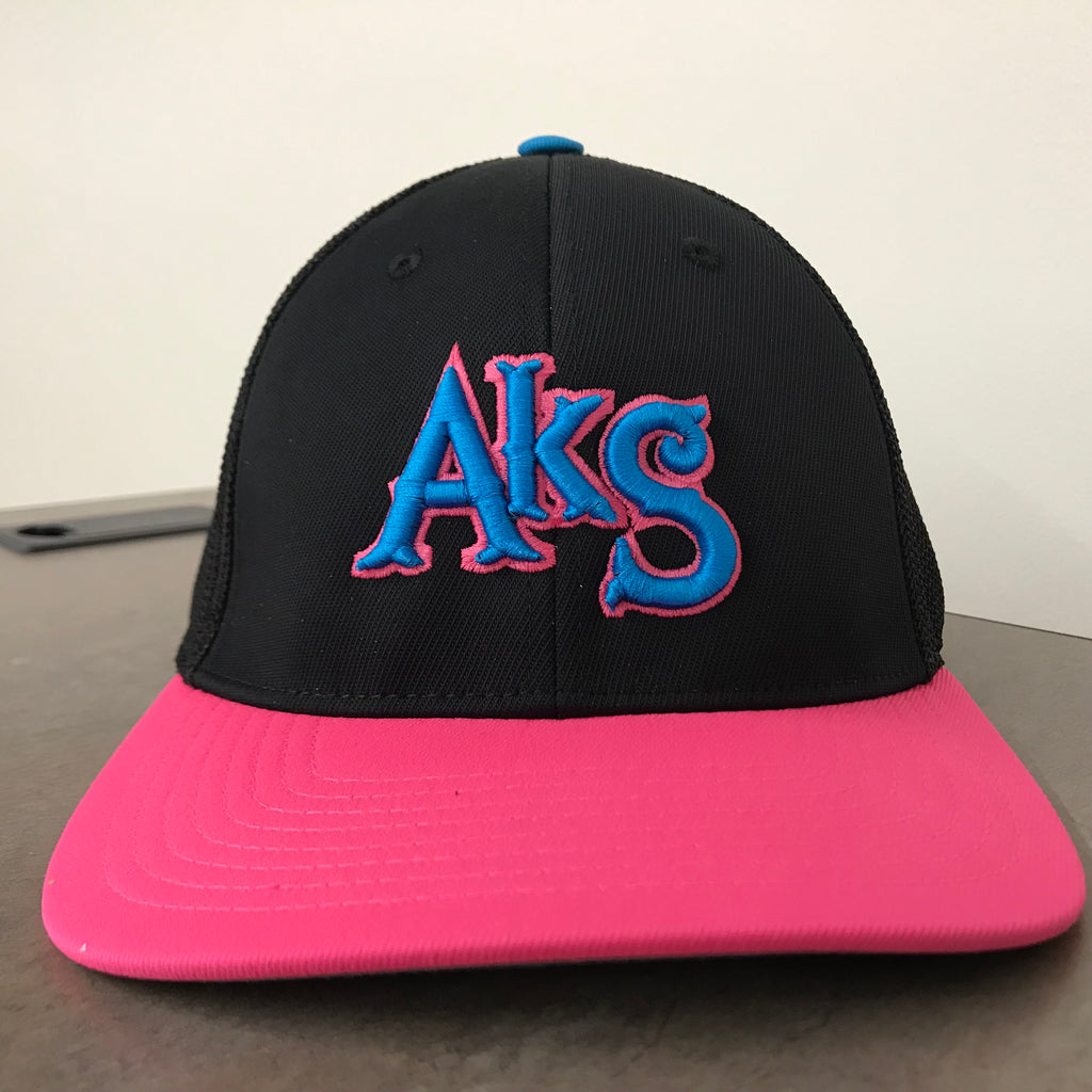 AkS Original Trucker Hat in Black & Neon Pink with Neon Blue