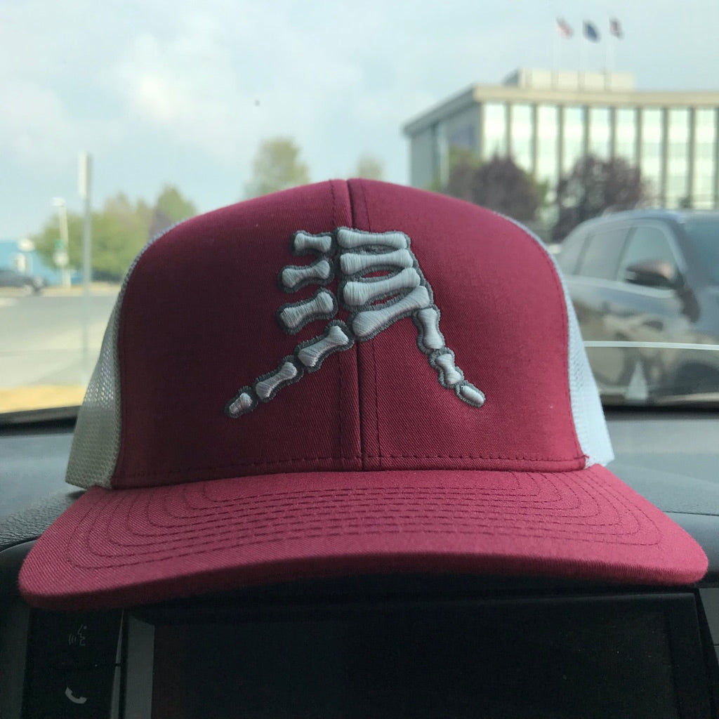 AkS Bones Snap-Back Trucker hat in Cardinal and White
