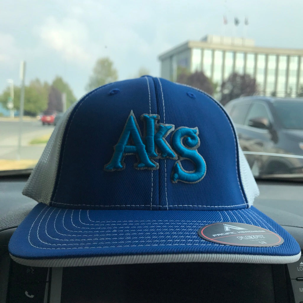 AkS Original Trucker Hat in Royal & White with Neon Blue
