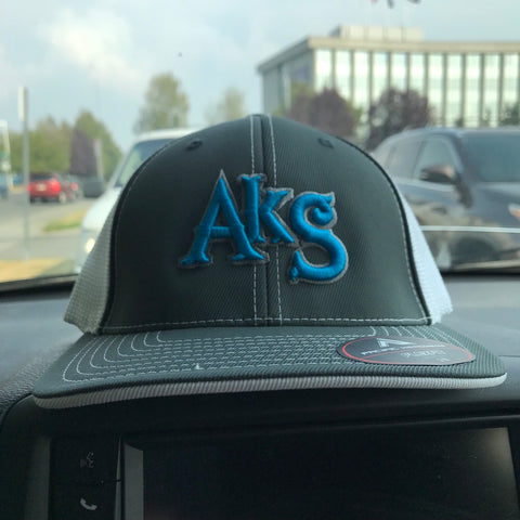 AkS Original Trucker Hat in Graphite & White with Neon Blue