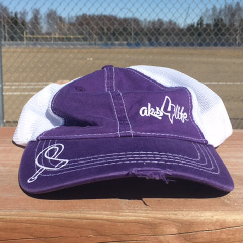 AkS4life unstructured adjustable hat in Purple & White