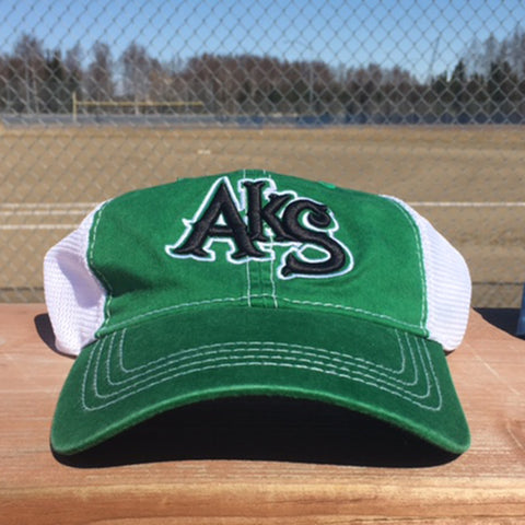 AkS Original Snap-Back Unstructured Trucker hat in Kelly Green & White
