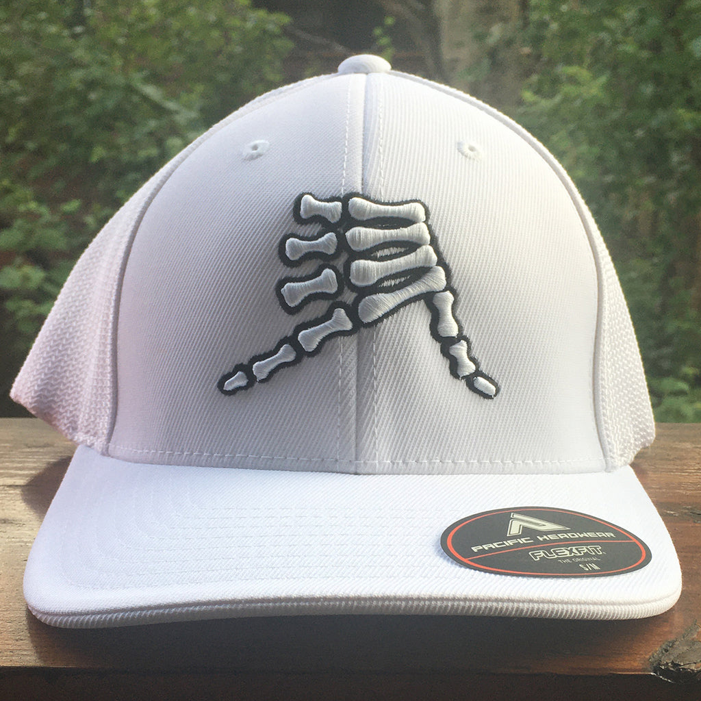 AkS Bones Flatbill Trucker Hat in White