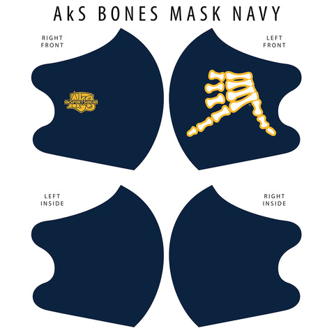 AkS Bones Dual Layer Mask - Navy