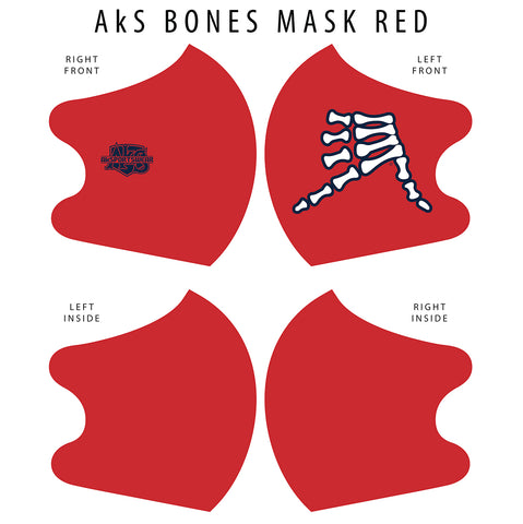 AkS Bones Dual Layer Mask - Red