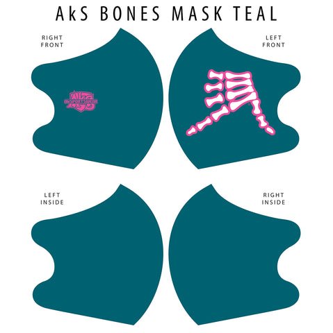 AkS Bones Dual Layer Mask - Teal