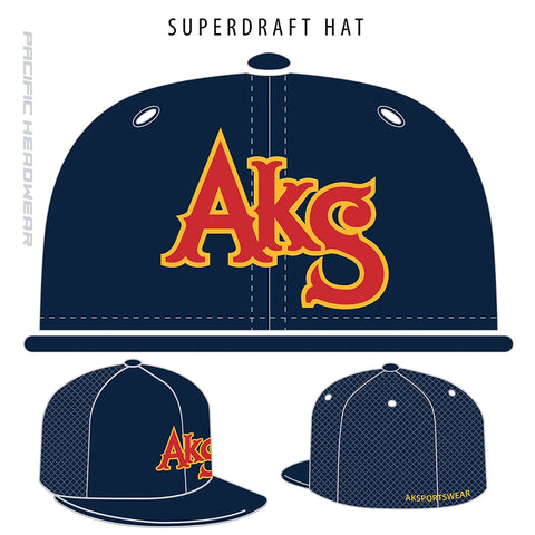 AkS Original Trucker Hat in Navy with Red & Yellow