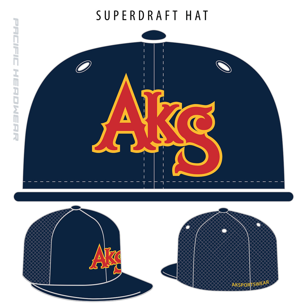 AkS Original Flatbill Trucker Hat in Navy with Red & Yellow