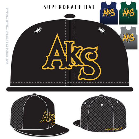 AkS Original Flatbill Trucker Hat in Black with Yellow