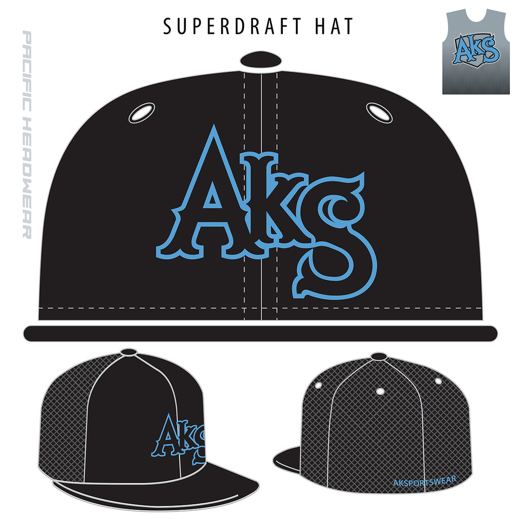 AkS SuperDraft Trucker Hat in Black with Columbia Blue