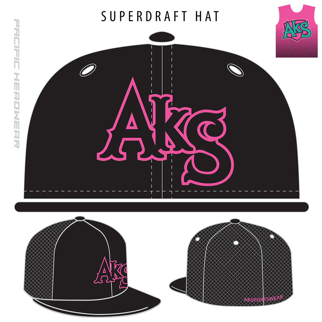 AkS Original Flatbill Trucker Hat in Black with Pink