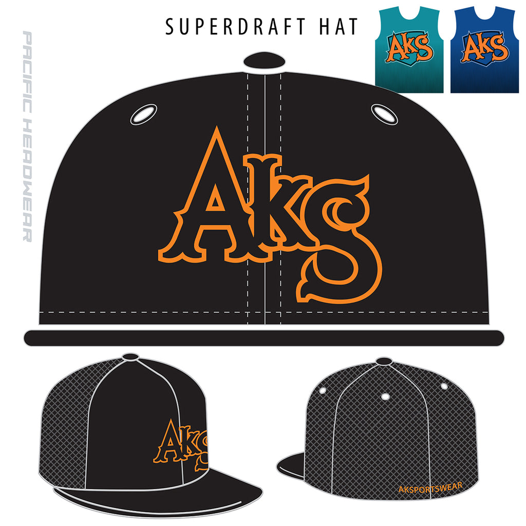AkS Original Snap-Back Trucker Hat in Black with Orange