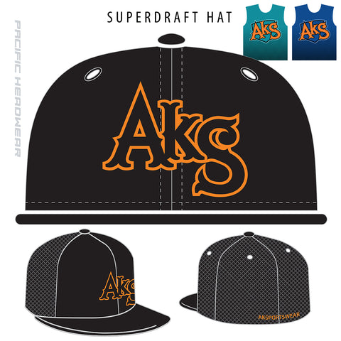 AkS Original Flatbill Trucker Hat in Black with Orange