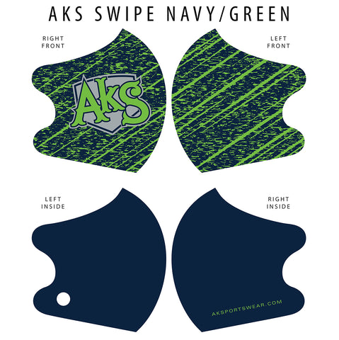 AkS Swipe Dual Layer Mask - Navy/Green