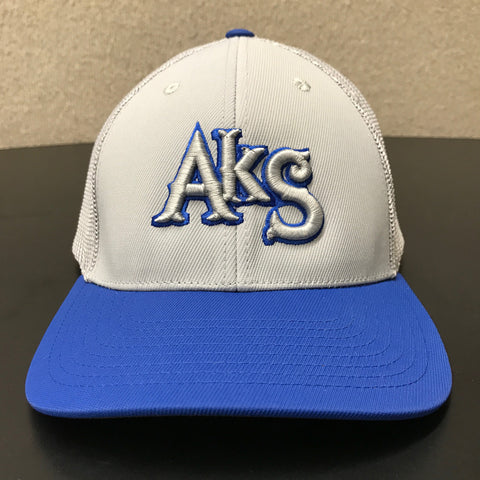 AkS Box Custom Trucker Hat in Silver & Royal - 1.0