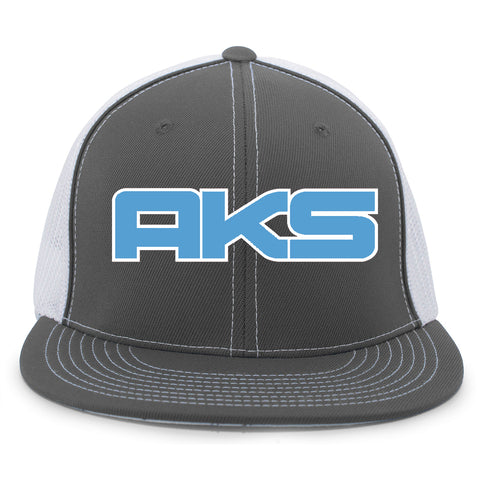 AkS Big Chi Flatbill Trucker Hat in Graphite & White with Columbia Blue