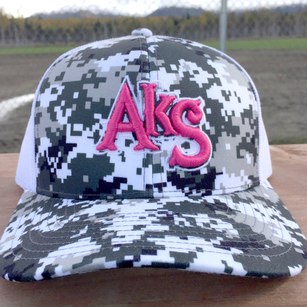 AkS Original Flatbill Trucker Hat in Digi Snow & White with Neon Pink