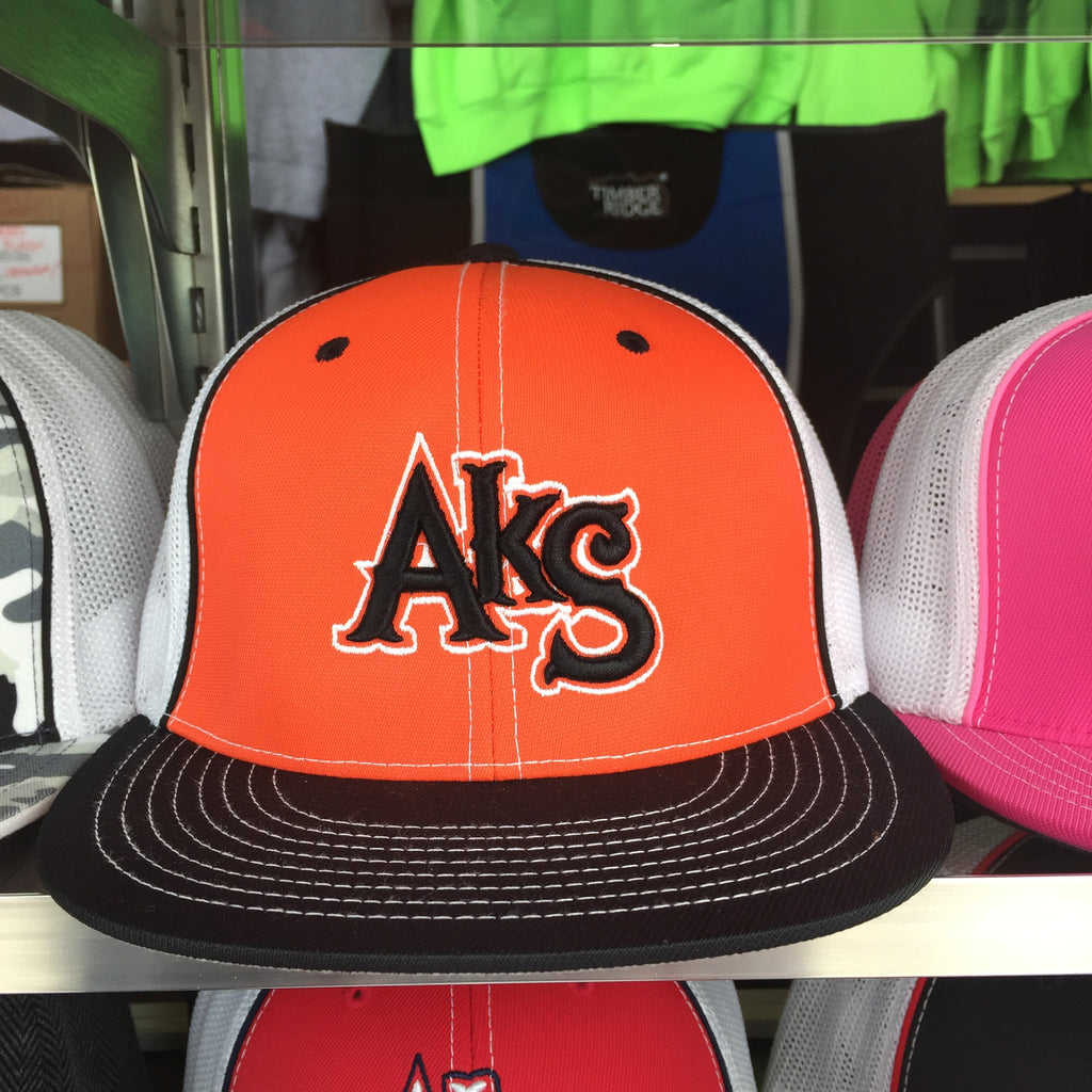 AkS Original Trucker Hat in Orange & Black & White