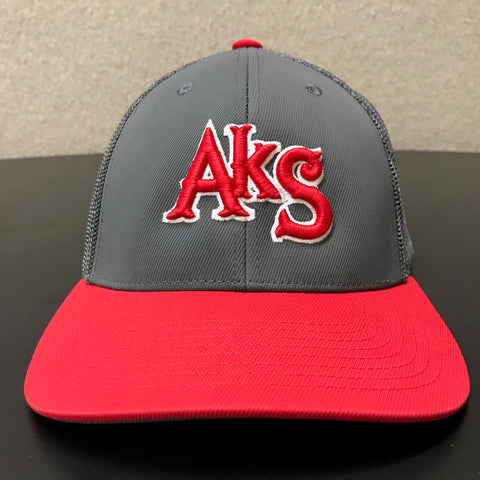 AkS Box Custom Trucker Hat in Graphite & Red - 1.0