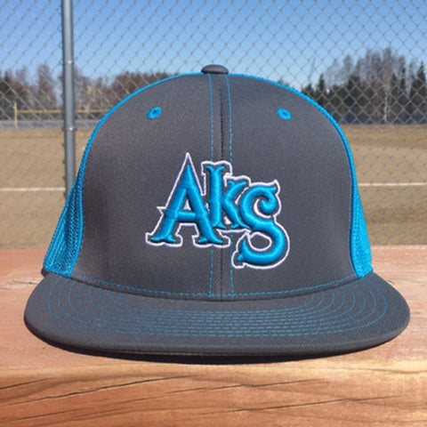 AkS Original Flatbill Trucker Hat in Graphite & Neon Blue