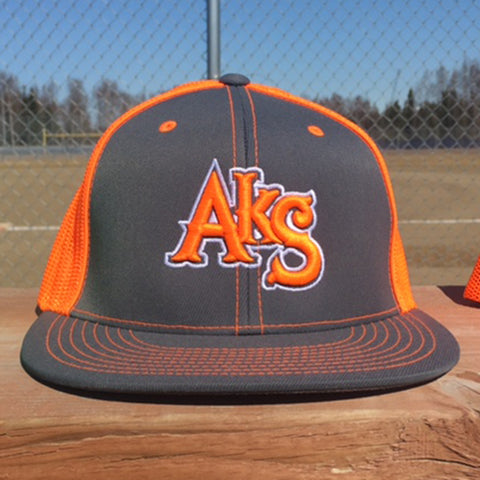 AkS Original Flatbill Trucker Hat in Graphite & Neon Orange