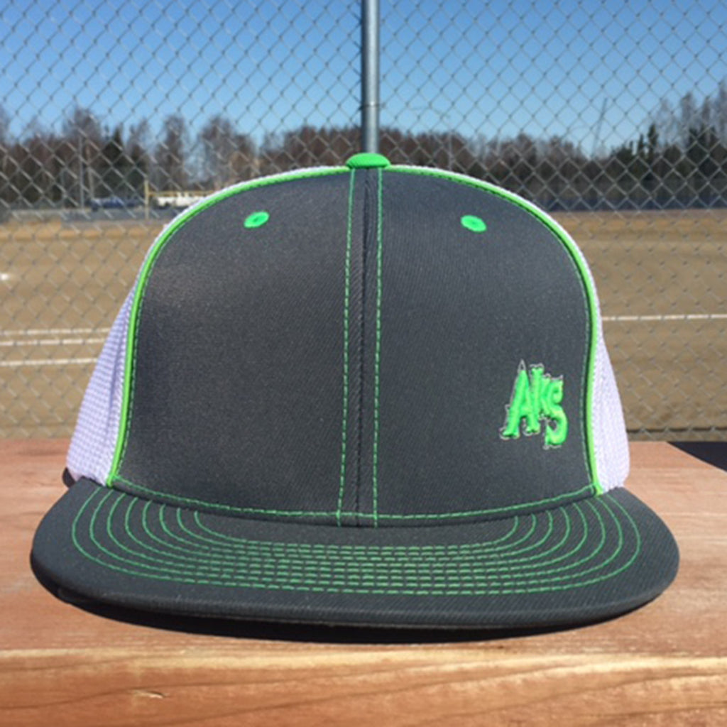 SK8R Flatbill Trucker Hat in Graphite & Neon Green & White