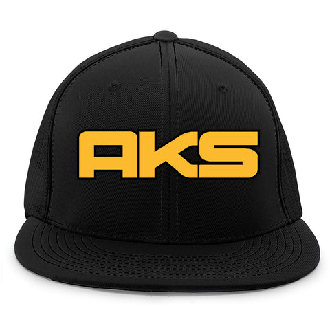 AkS Big Chi Flatbill Jersey Hat in Black with Gold