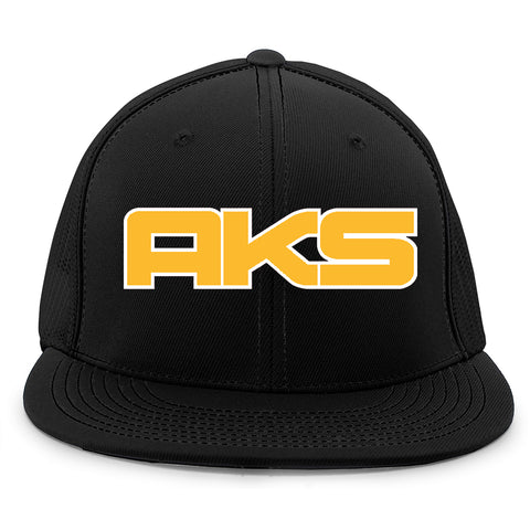 AkS Big Chi Flatbill Jersey Hat in Black with Gold & White