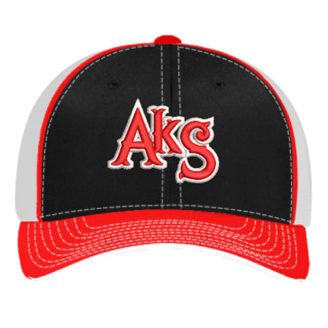 AkS Original Trucker Hat in Black & Red & White
